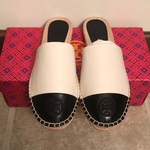 NIB Tory Burch Espadrille Slides Color Block 9.5